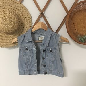 Forever 21 Cropped pin striped denim vest
